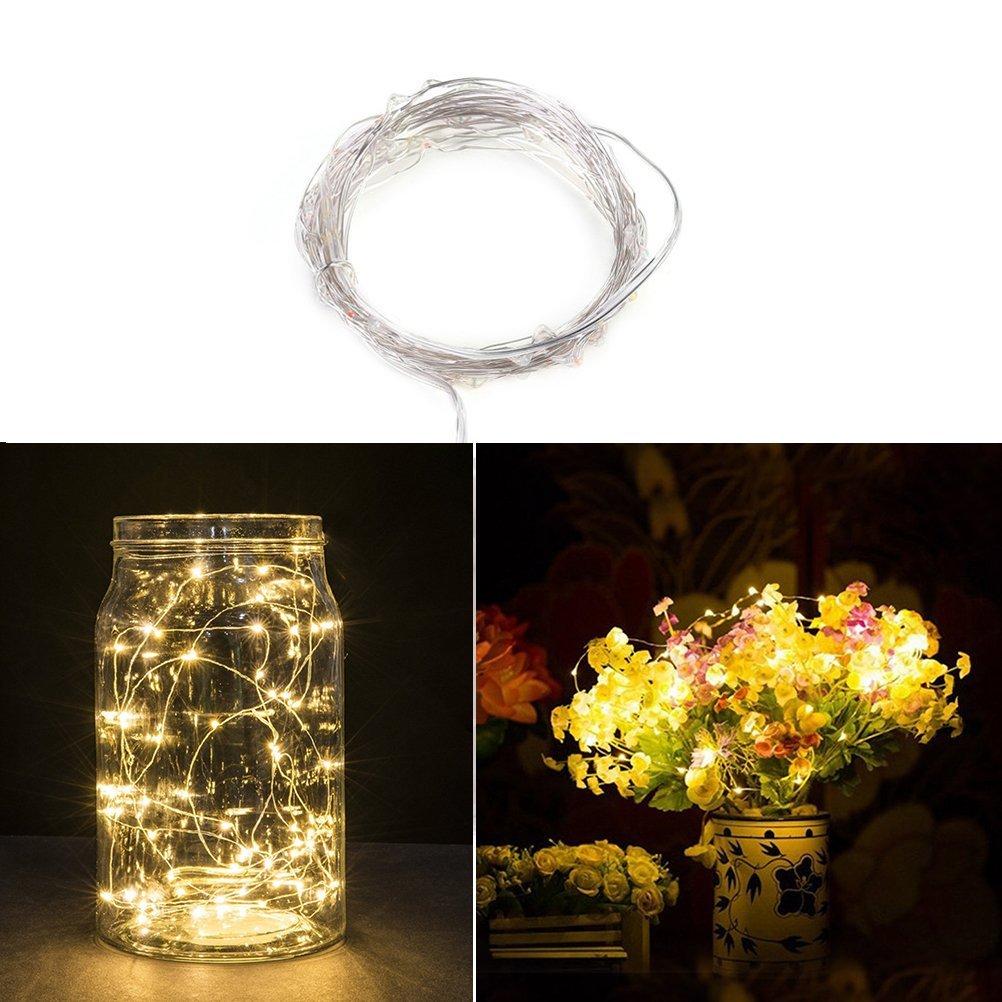 Fairy String luces de alambre de cobre alambre luces 50 LEDs de pilas con control remoto para la decoración de la boda de Navidad (luz blanca cálida)