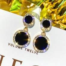 Серьги-гвоздики маленькие, свежие и простые серьги, темпераментные женские Стразы, круглые Женские ювелирные аксессуары-серёжки Oorbellen(Китай)
