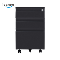 Hot sale office steel furniture lockable 3 drawer FC file folder mobile filing cabinet for office