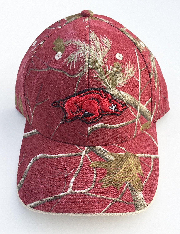 e8a6a3c671c Get Quotations · Arkansas Razorbacks Maroon Realtree Camouflage Camo Cap Hat