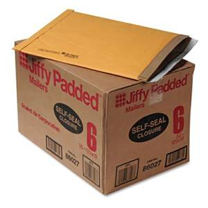 Jiffy Padded Self-Seal Mailer, Side Seam, #6, 12 1/2x19, Gold Brown, 50/Carton, Sold as 50 Each