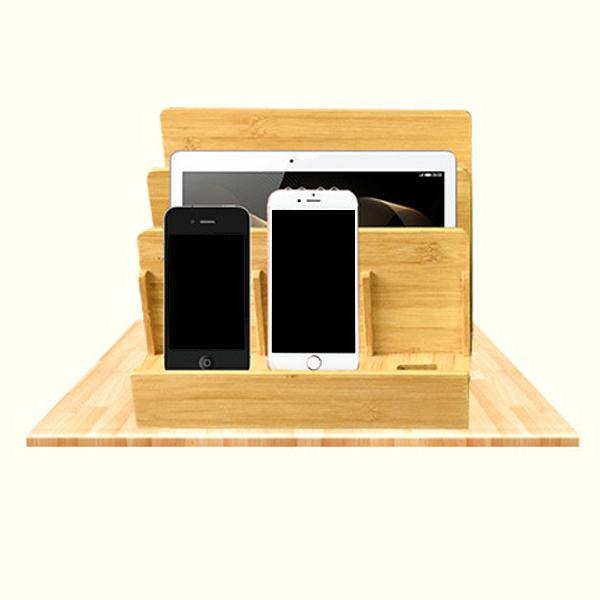 Mobile phone charging flat interlayered electronics storage bamboo stand