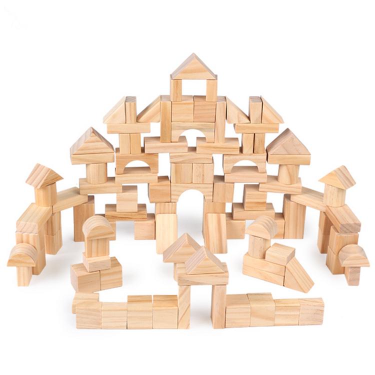 LOT 100PCS NATURAL WOODEN BUILDING BLOCKS BRICKS CUBES SET KIDS WOOD ECO TOY