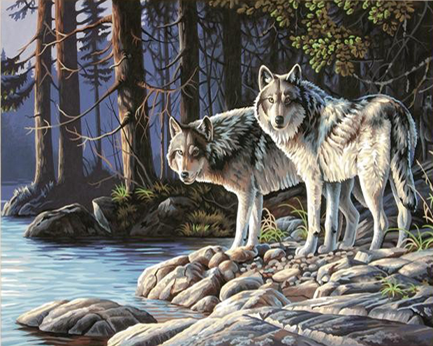 GZ636- 40*50 Snow wolf landscape canvas painting strecthed canvas wall art decor