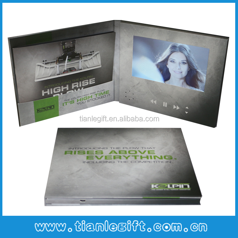 Hardcover 7 inch lcd brochure card video brochure video book with pocket and booklet