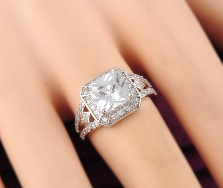9382506dcd09 18 K platino plateado latón Micro incrustaciones cuadrado de diamantes de  imitación de la boda compromiso