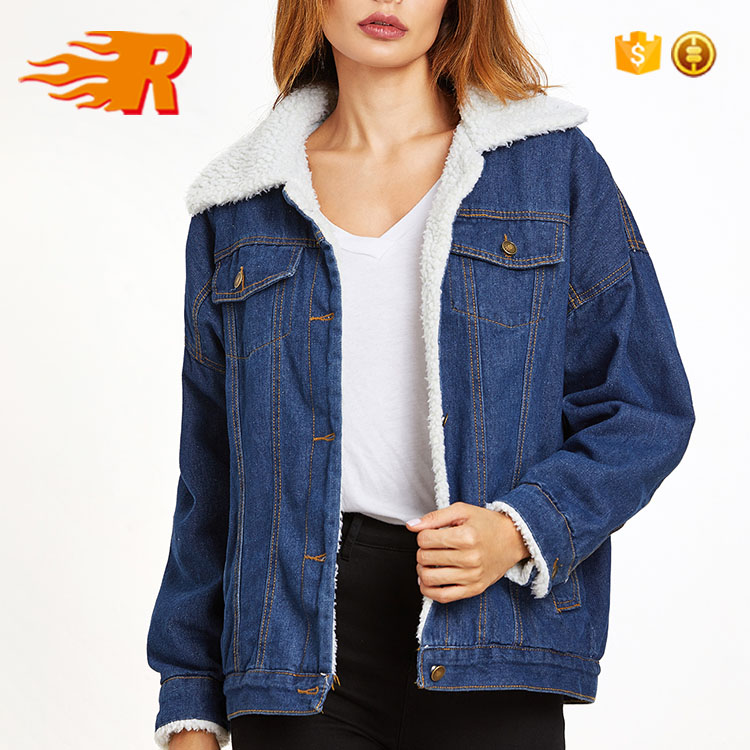 Wholesale Woman Vintage Blue Denim Sherpa Denim Jeans Jacket Winter