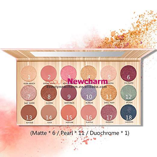 Toptan 18 renk glitter göz farı paleti yüksek pigment karton özel marka göz farı paleti