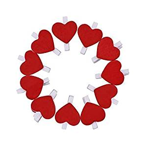 50 Pack Mini Wooden Photo Paper Pegs Pin Clothespin Clips with Red Heart Craft for Wedding Party