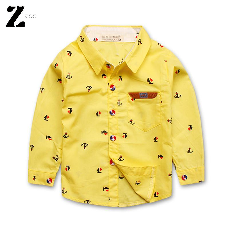 1-4Y Kids Long Sleeve Boys Shirt Autumn Spring Fall With Collar Fashion Print Cotton Children School Clothes Brand 2015