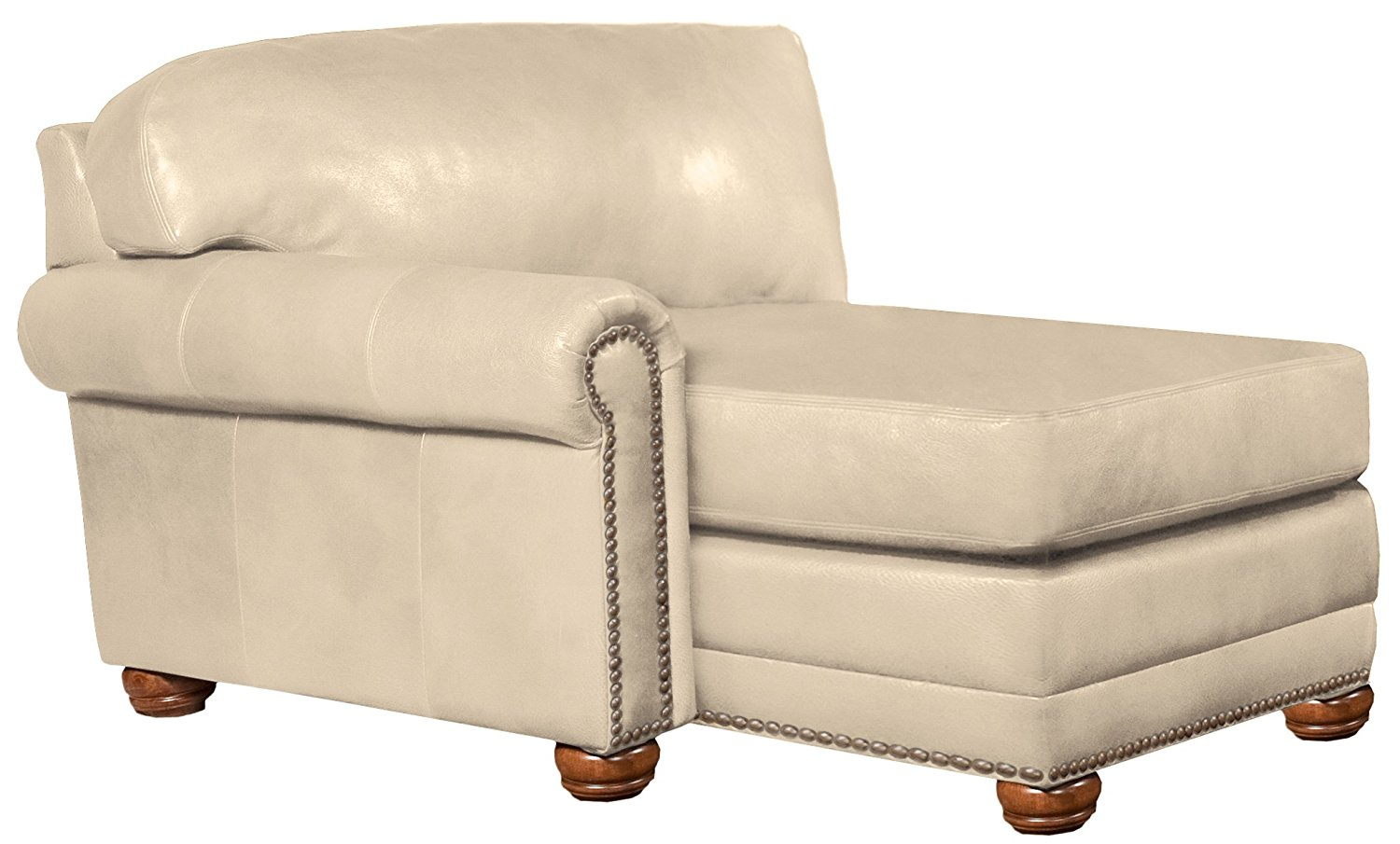 Omnia Leather Dominion Left Arm Chaise in Leather, with Nail Head, Softstations White Winter