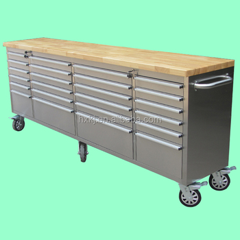 metal workbench with drawers. ( hot ) 96\u0026quot; stainless steel 24 drawers 6 casters workbench with wheels metal