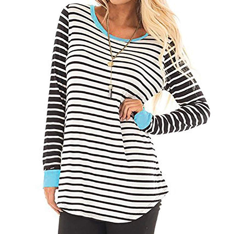 Kinrui Women's Casual Stripe Splice T-Shirt O-Neck Long Sleeve Blouses Tunic Sweatshirt Pullover Shirt