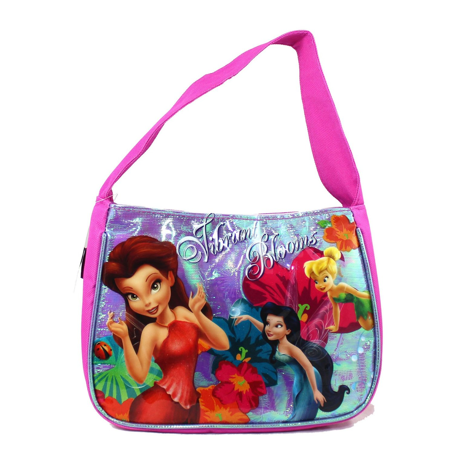 """Fast Forward New York Disney Fairies Series """" Tinker Bell and The Pixie Hollow Games"""" Single Compartment Soft Insulated Lunch Tote with Image of Rosetta, Silvermist and Tinker Bell (Bag Dimension: 9"""" x 6-1/2"""" x 3-1/2"""")"""