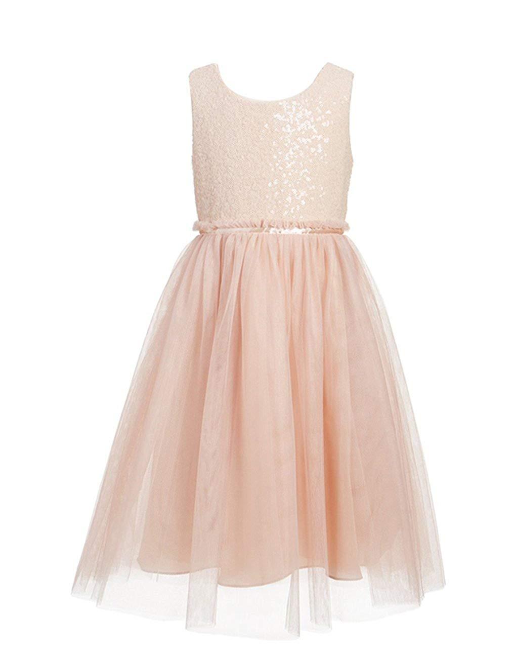 119944ea289 Get Quotations · princhar Blush Sequin Tulle Flower Girl Dress Wedding  Party Toddler Dress for Kids