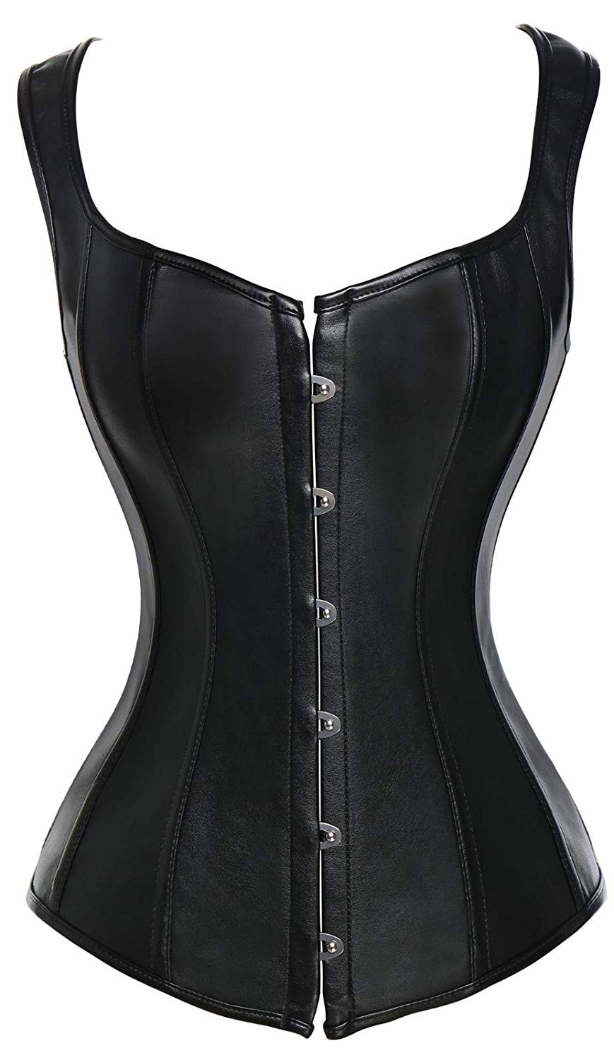 72a861b00d Get Quotations · CROSS1946 Steampunk Punk Rock Faux Leather Overbust Bustiers  Corsets Basque Top Vests