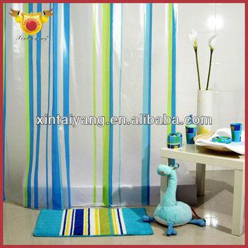 Color Stripe Printed Transparent Pvc Plastic Shower Window Curtain ...