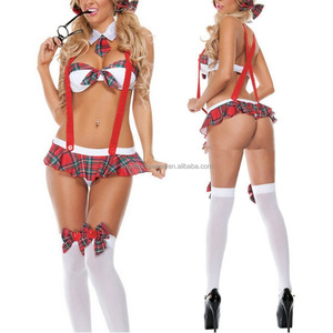 Womens School Girl Costume Sexy Lingerie Uniform Halloween Cosplay Costume Fancy Dress AGC4201