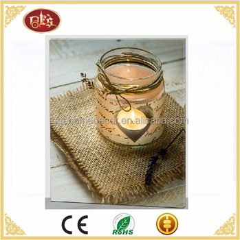 Tealight candle canvas picture with led light home decor LED lighted canvas pictures
