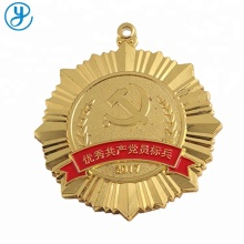 Fashion Wholesale round gold plated trophy medal ribbon drape,medals and trophies