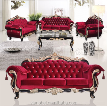 Traditional Style Formal Living Room Cerved Furniture Red Sofa Set ...