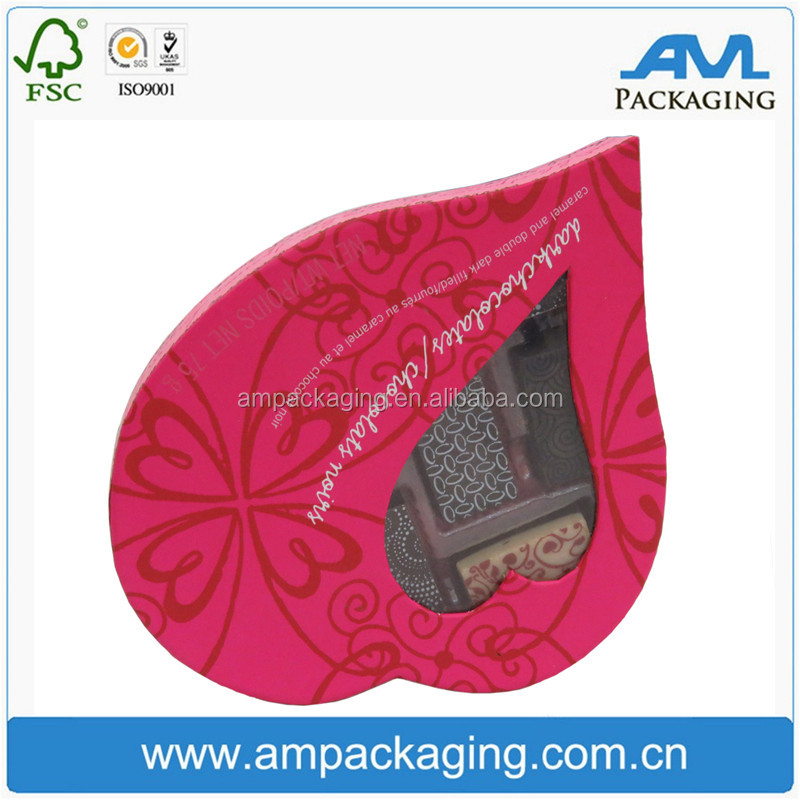 Heart Shaped Sweet Chocolate Rigid Cardboard Wedding Gift Packaging for Guests