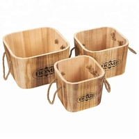 Factory directly supply wooden storage buckets with rope handles