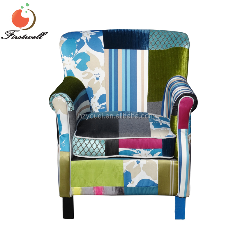factory wholesales modern fabric patchwork armchair sofa furniture