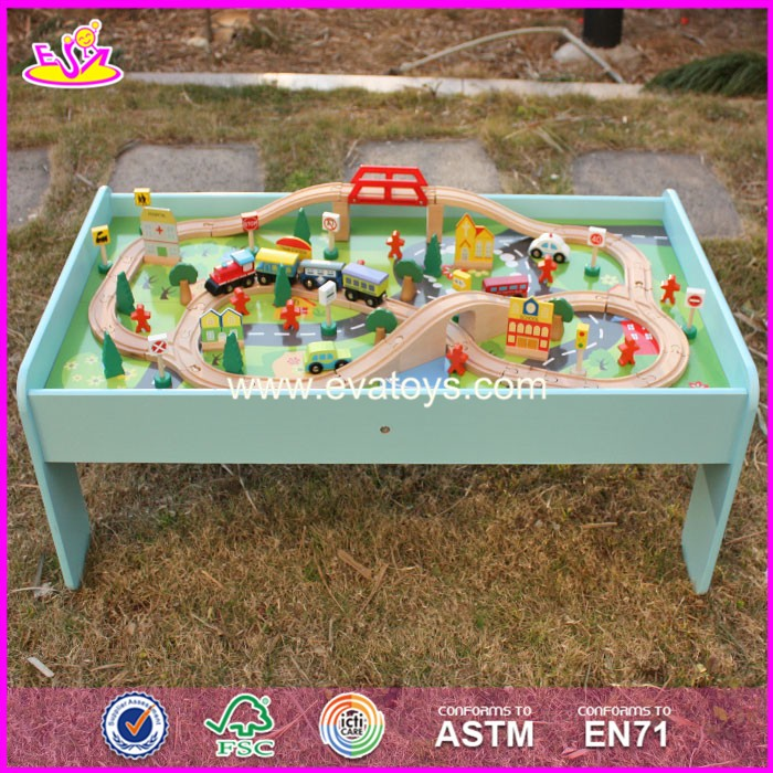 2017 New design funny activity toys wooden kids train table W04C071
