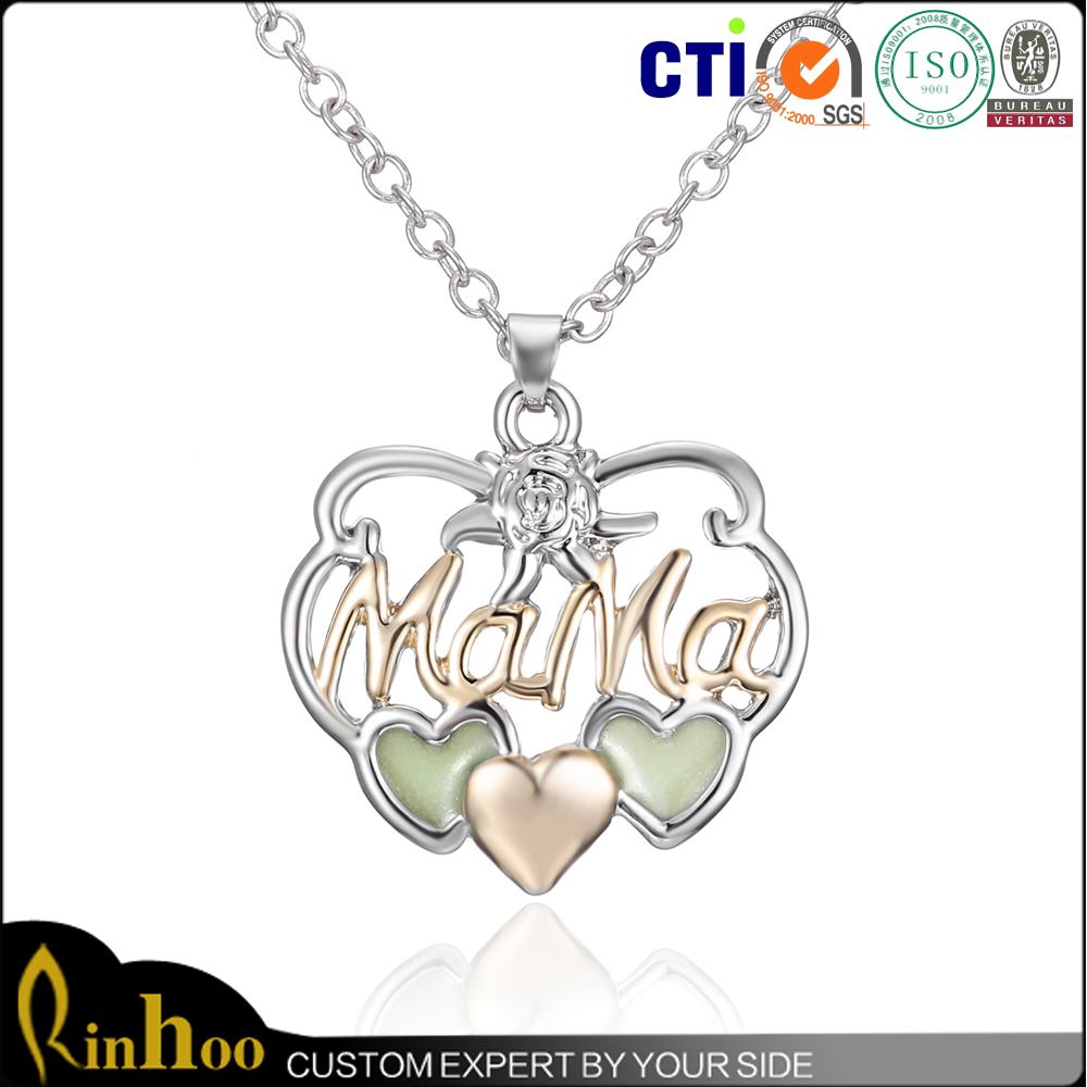 Fashion White Gold Jewelry Letter Pendant Heart Pendant Necklace Mother Gift