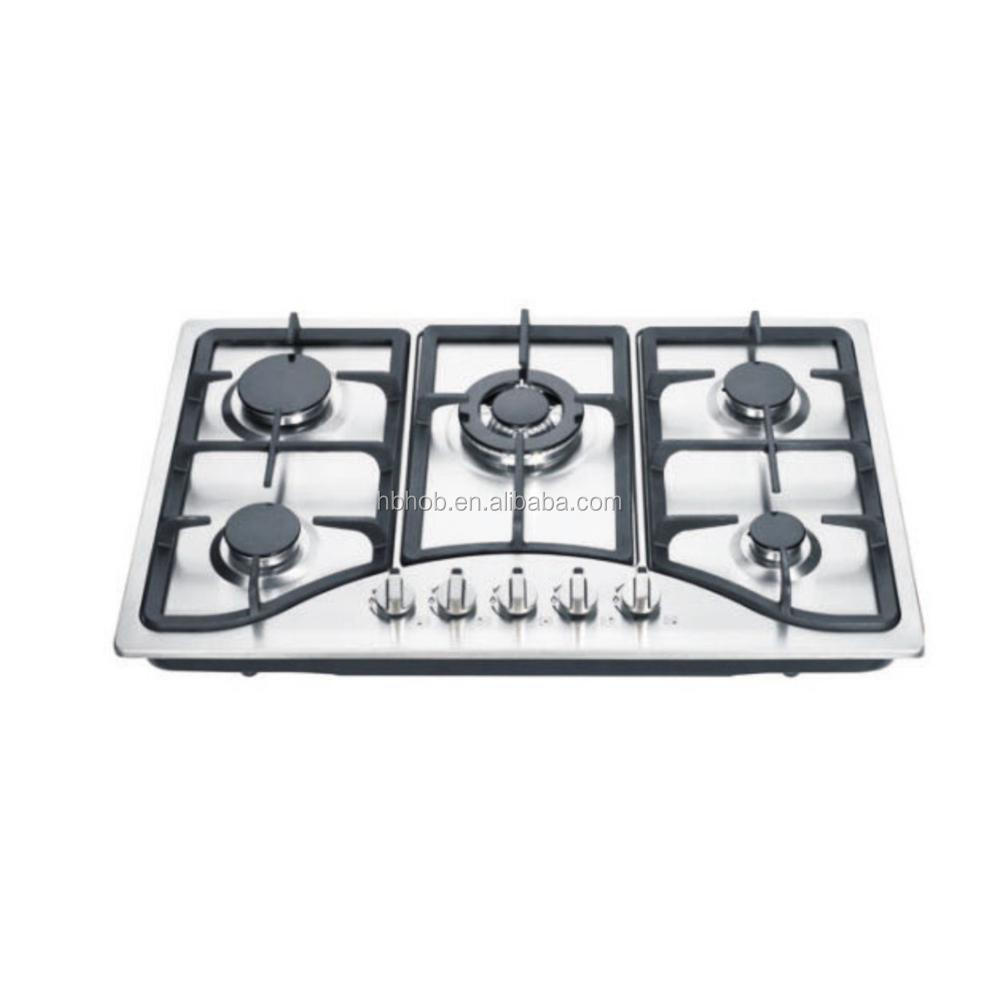 Durable High Quality Stainless Steel 5 Burner Built in Gas Hobs