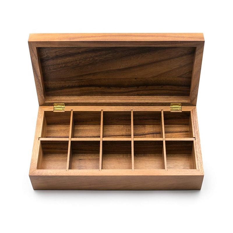 Rectangulaire Bois D'acacia Vauxhall Double Boîte à Thé avec 10 Sections Organisateur De Stockage