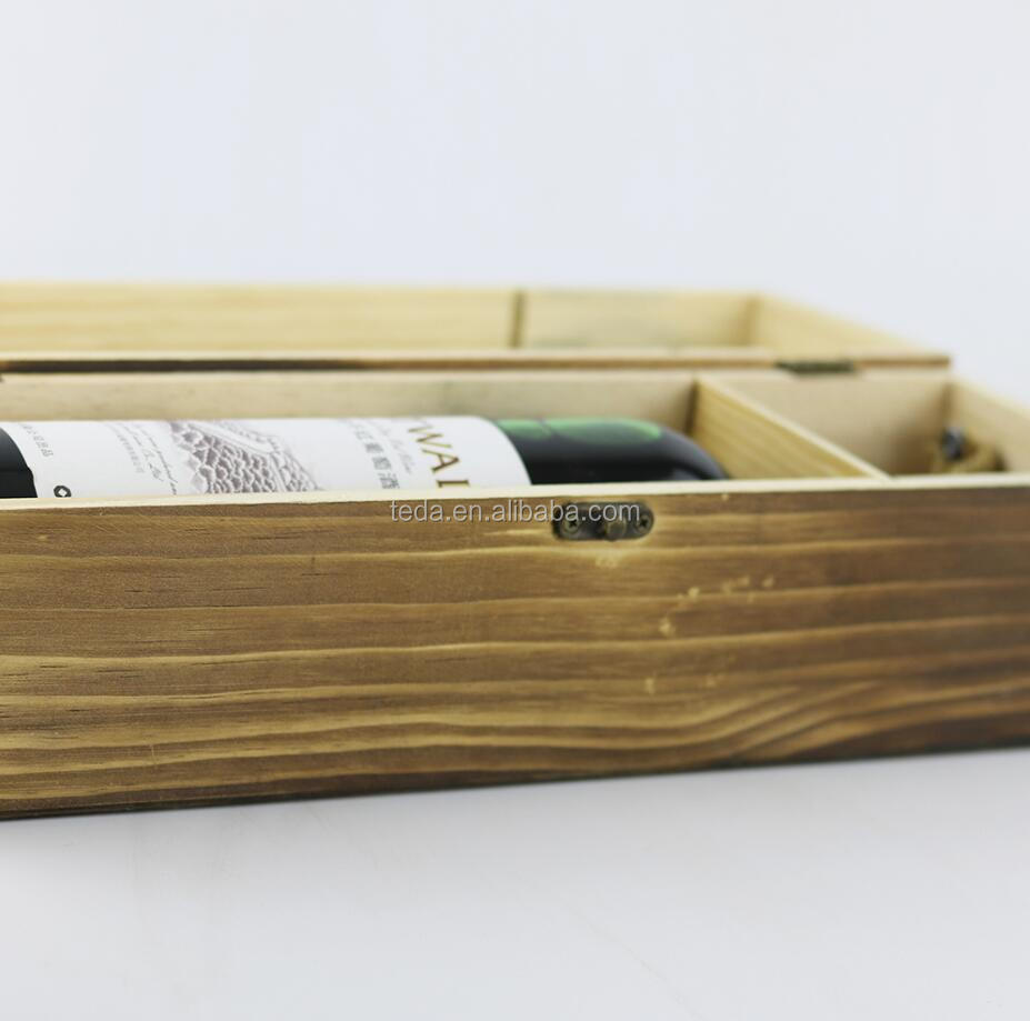 customized logo and design single lid wooden wine box