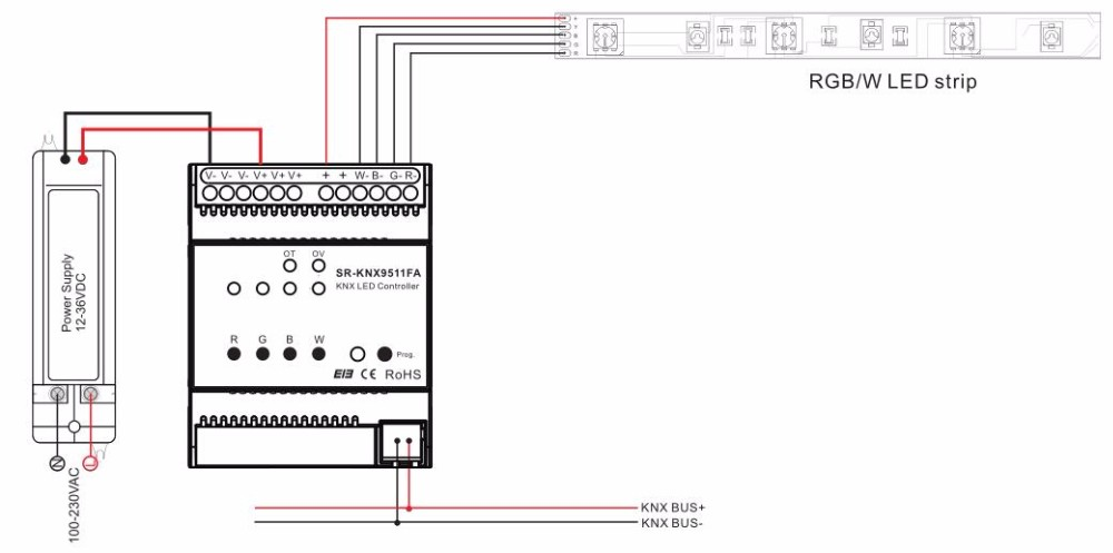 Tuv Certified Din Rail Knx Dimmer Rgbw Single Color Sr