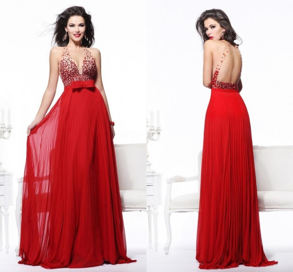 Como Hacer Vestidos Escotadossexy Rojo De Noche Largo