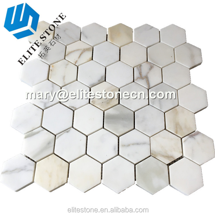 bathroom tiles calacatta gold hexagon mosaic tile