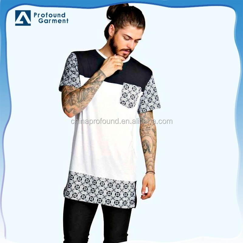 Custom Elongated Longline Paisley Printing Man T Shirt With Side ...