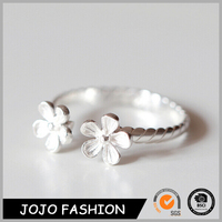 Wedding fashion flower opening 925 sterling silver couple Ring