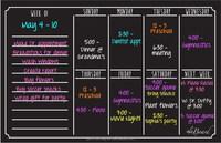 Black Refrigerator Dry Erase Board Magnetic Calendar Dry Erase Calendar Weekly
