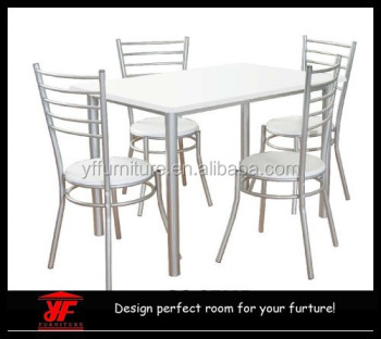 Made In China White MDF Metal Frame Breakfast Dining Table Set