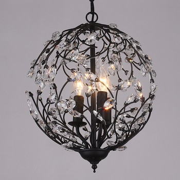 creative spherical iron crystal large decorative chandeliers for home and hotel