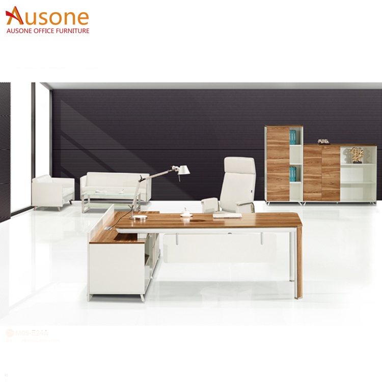 Elegant Design High Tech Executive Office Desk With Long Cabinet Stainless Steel Computer Table