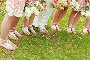 Ivory Beach Wedding Sandals,Wedding Accessory,Sexy Beach Sandals, Crochet Barefoot Sandals, Barefoot Sandals , Crochet Anklet, Sexy Lace Sandals,Wedding Footwear, Bridesmaid Sandals (Ivory-03)