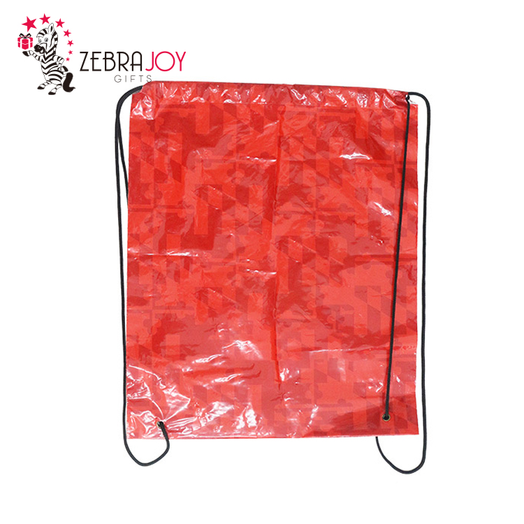 Promotion gifts red custom printed backpack plastic drawstring bag
