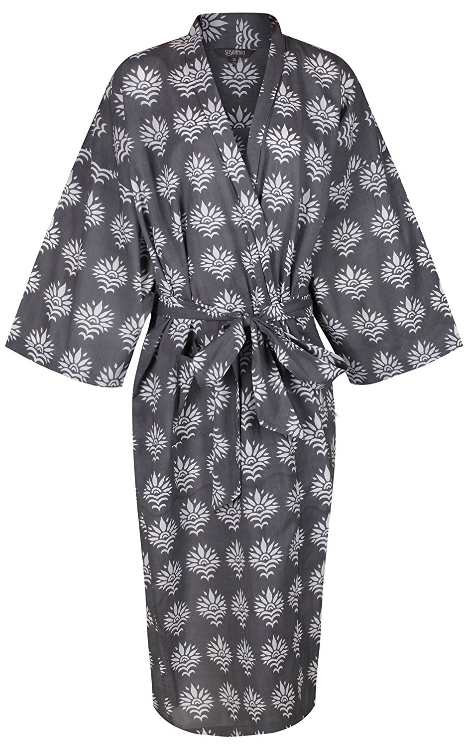 Get Quotations · Women s Kimono Cotton Robe Bathrobe Long Dressing Gown  Bridesmaid 100% Organic Lightweight Cotton  Gray e680193d8