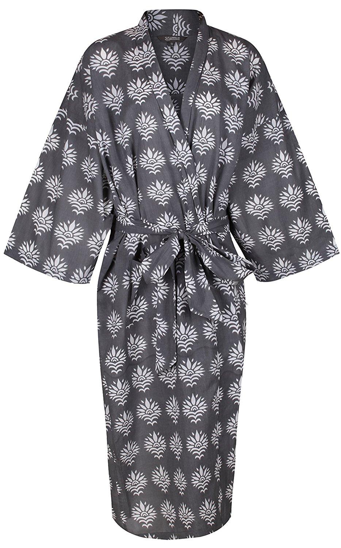 Get Quotations · Women s Kimono Cotton Robe Bathrobe Long Dressing Gown  Bridesmaid 100% Organic Lightweight Cotton  Gray c987c008c