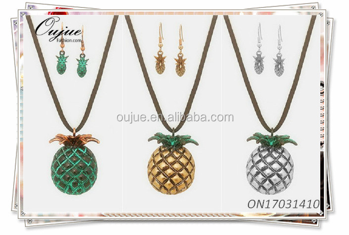 Summer Fruit Pineapples Pendant Suede Leather Necklaces Set
