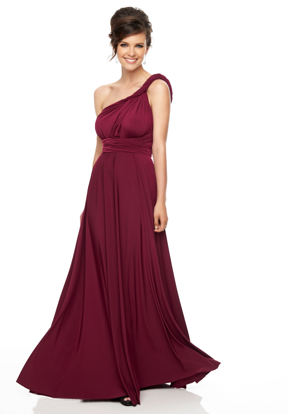9664245ec9e2 Get Quotations · Red wine long chiffon bridesmaid dresses 2015 sexy one  shoulder cheap plus size wedding party dress