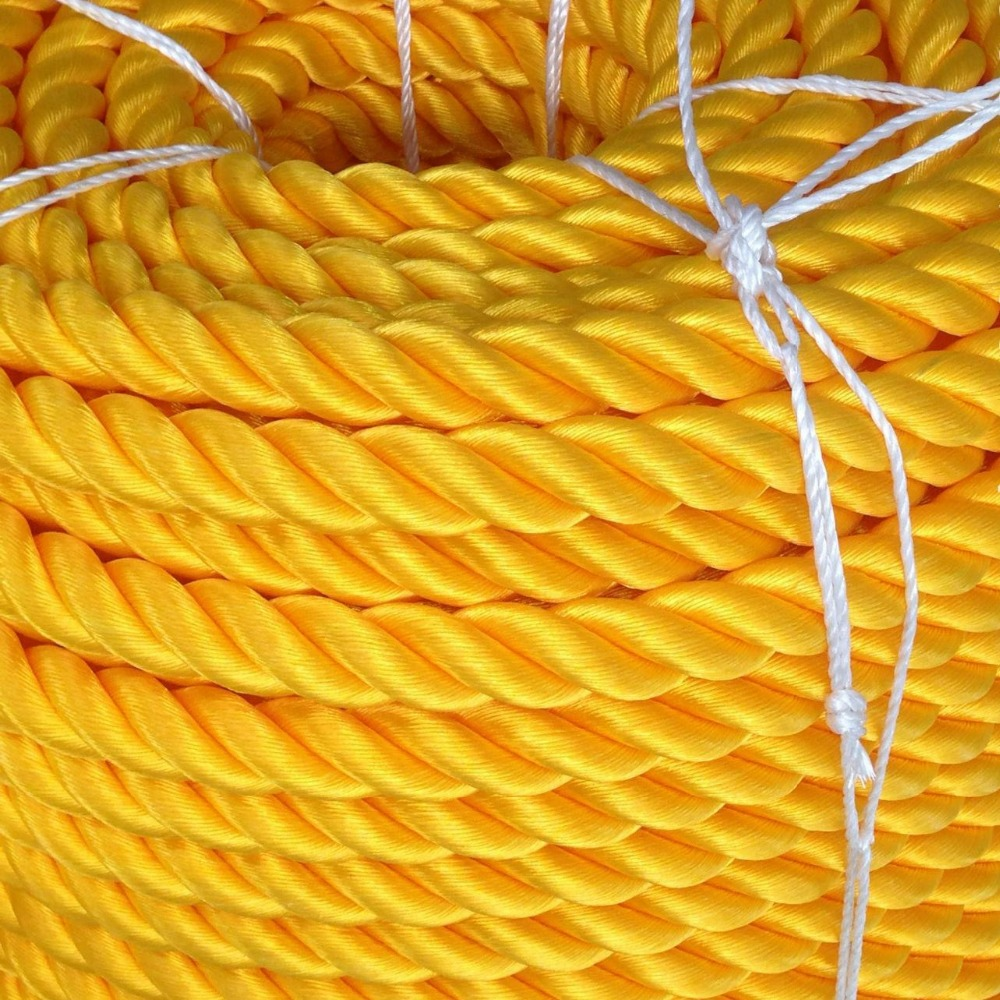 twisted yellow nylon rope marine rope