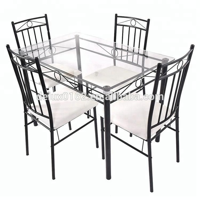 NEW 5 Piece Dining Set Glass Metal Table and 4 Chairs Kitchen Breakfast Furniture
